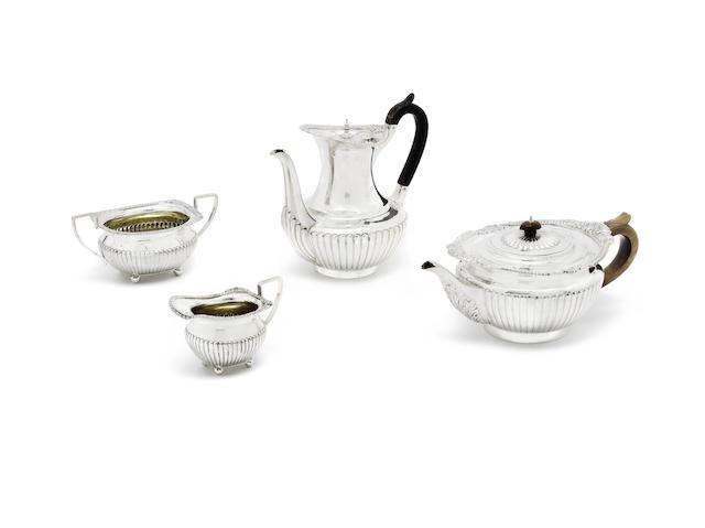 A composite Victorian four-piece silver tea and coffee service
