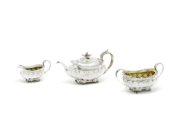 A George IV silver three-piece tea service