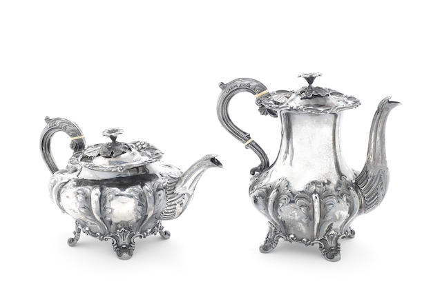 A Victorian silver coffee pot and teapot