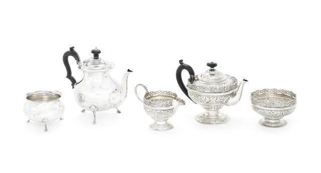 A cased Victorian silver three-piece tea service
