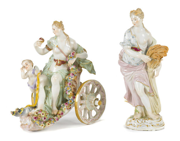 Two Meissen porcelain figures of Venus and Summer