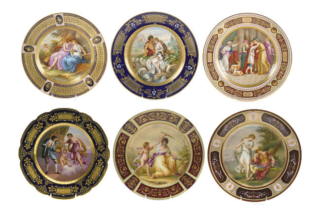 Six Vienna style porcelain cabinet plates