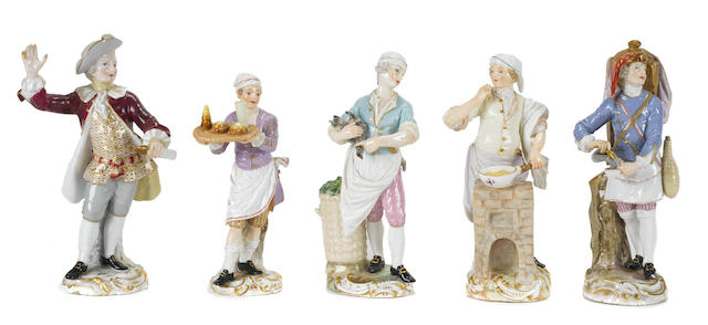 Five Meissen porcelain figures of street traders