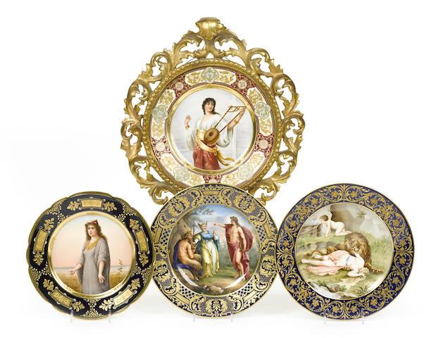 Four Vienna style porcelain cabinet plates