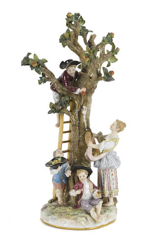 A Meissen porcelain figural group of apple pickers