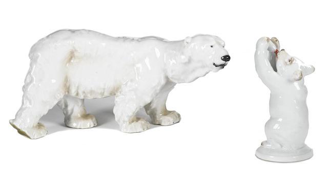 Two Meissen porcelain models of polar bears