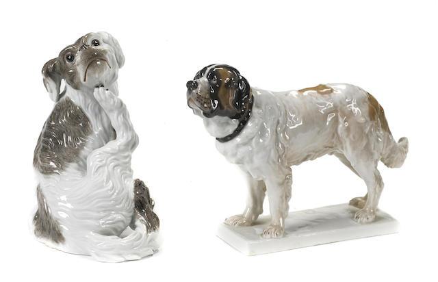 Two Meissen porcelain models of dogs