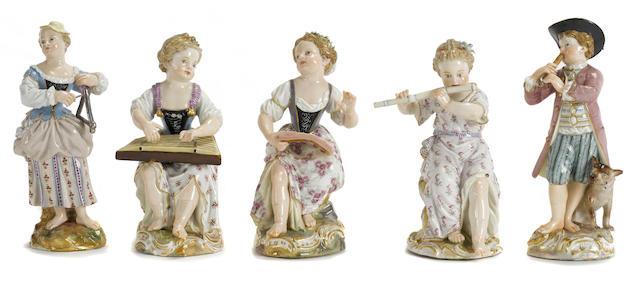 Five Meissen porcelain musicians