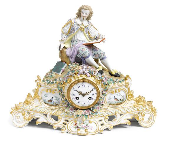 A Continental porcelain figural mantel clock