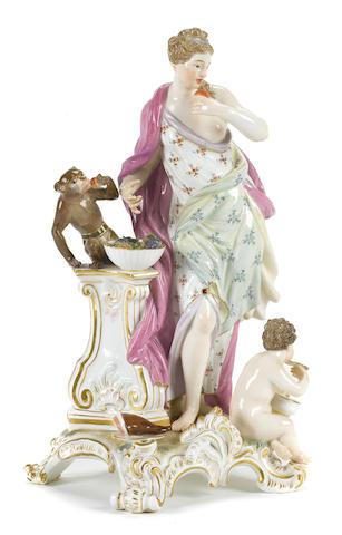 A Meissen porcelain figural group emblematic of the sense of Taste