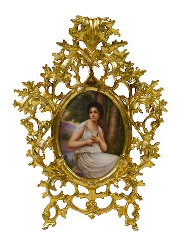 A German oval porcelain plaque: Reflexion