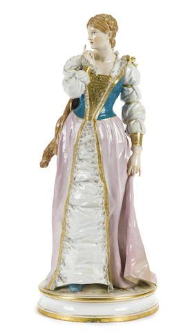 A Meissen porcelain figure of a maiden in Renaissance attire