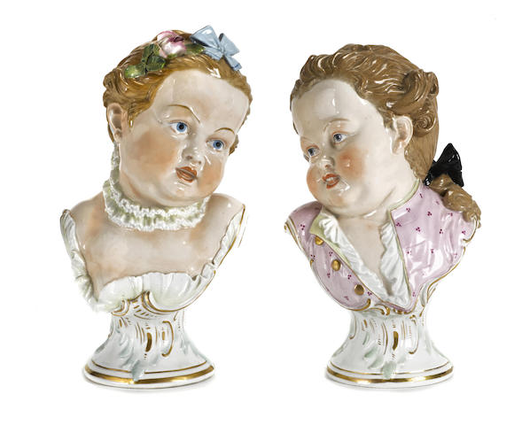 A pair of Dresden porcelain busts of children Carl Thieme, Potschappel