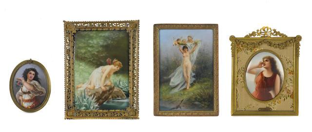 Four Continental porcelain plaques