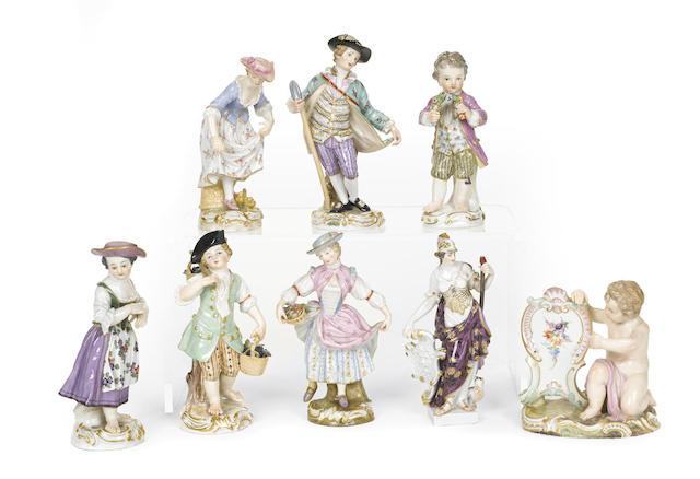 Eight Meissen porcelain figures
