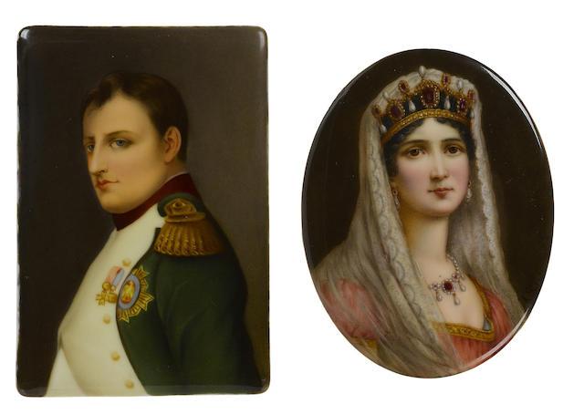 Two German porcelain plaques depicting Napoleon and Josephine
