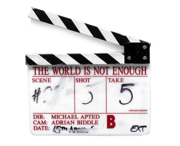 James Bond: a clapperboard used in The World Is Not Enough