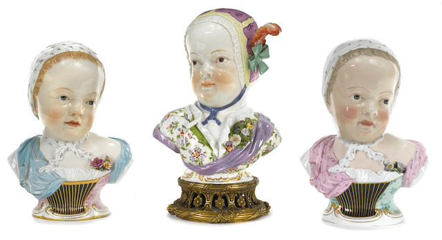 Three Meissen porcelain kinderbusts of the Prince and Princess de Bourbon
