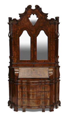 An Italian Baroque style inlaid walnut secretary cabinet