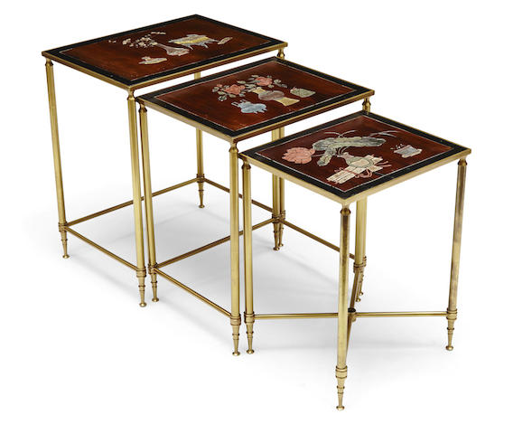 A nest of three Neoclassical style gilt brass and Chinese coromandel occasional tables