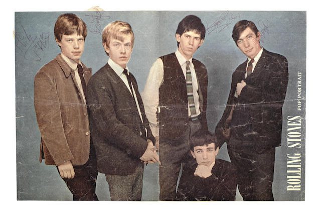 The Rolling Stones: an early autographed magazine 'pullout' poster of the ban