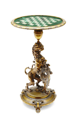 A Renaissance style patinated bronze games table