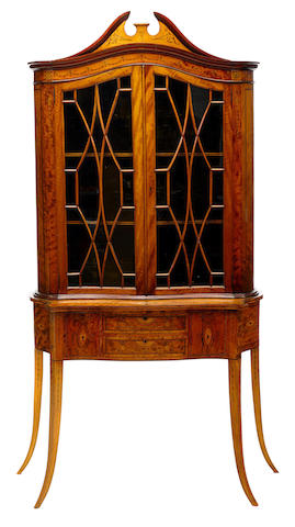 A Sheraton revival marquetry inlaid satinwood display cabinet