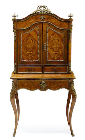 A French marquetry inlaid bonheur du jour