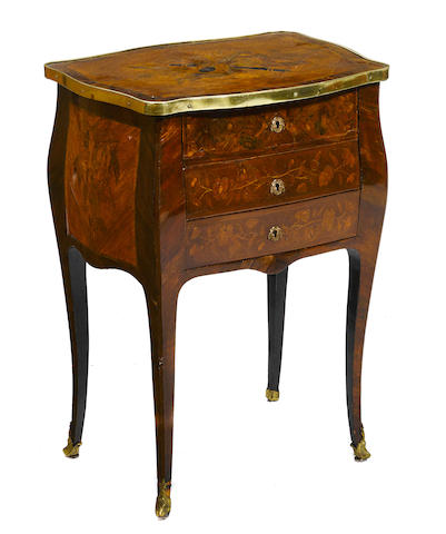A Louis XV style marquetry inlaid mahogany petite commode