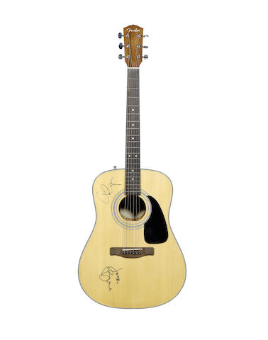 Cream/Yes: A Fender CD60 acoustic guitar autographed by Jack Bruce & Chris Squire