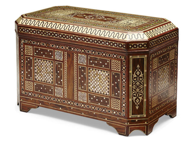 A Levantine shell and bone inlaid chest