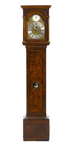A George II burl walnut tallcase clock John Ellicott, London