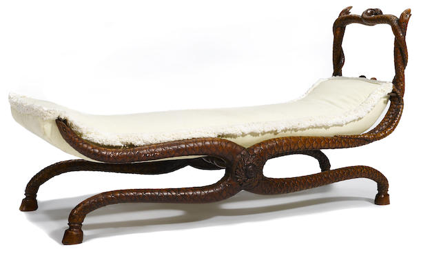 A whimsical Continental carved walnut daybed