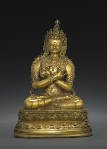 A gilt copper alloy figure of Vajradhara