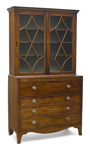A George III ebony inlaid mahogany secretary bookcase