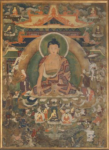 A thangka of Shakymuni Buddha