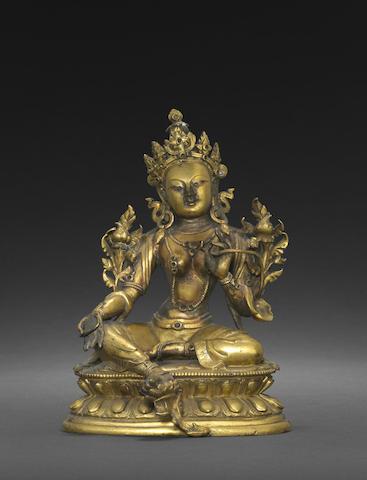 A gilt copper alloy figure of Syamatara
