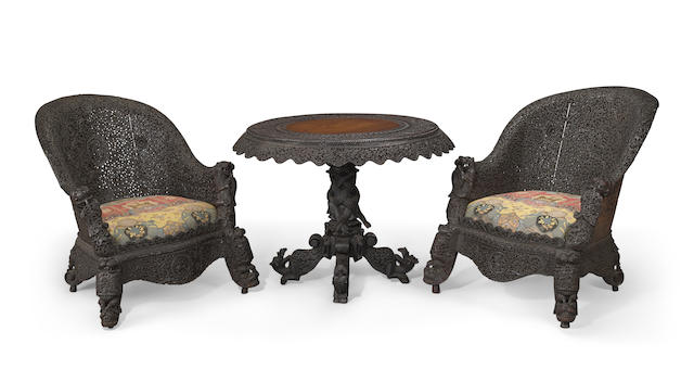 A suite of Anglo Indian carved blackwood furniture Bombay