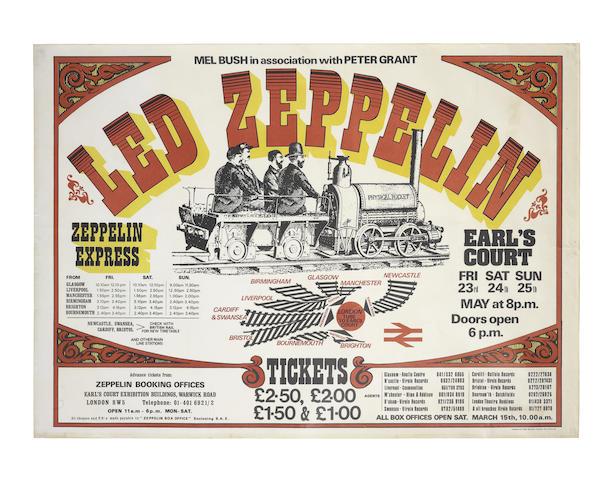 Led Zeppelin: London Earl's Court concert poster