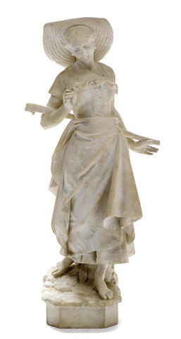 An Italian carved marble figure of a maiden