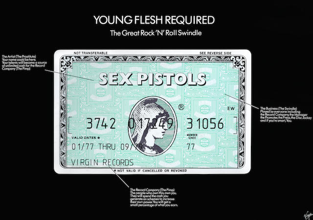 Sex Pistols: A withdrawn Virgin Records promo poster for the film 'The Great Rock 'N' Roll Swindle'