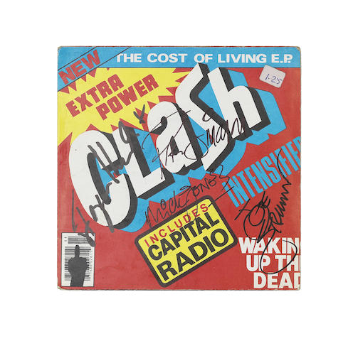 The Clash: An autographed vinyl EP cover, 'The Cost Of Living'