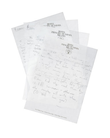 The Police: Sting's handwritten liner notes for the album 'Every Breath You Take: The Singles