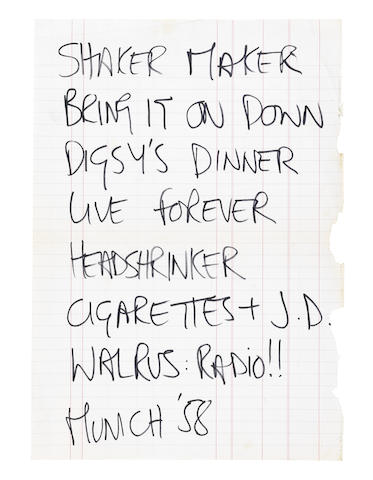 Oasis: An early handwritten set list in Noel Gallagher's hand, tour itinerary and backstage pass