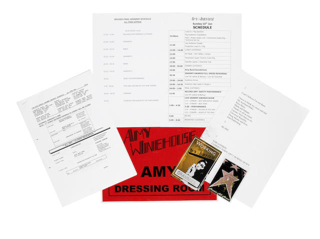 Amy Winehouse: a collection of paperwork and passes for the Grammy Awards and a dressing room sign