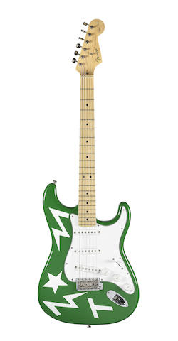 Ed Sheeran: 'Green T' Fender Stratocaster Eric Clapton Signature Model guitar used by Ed Sheeran on his X world tour 2015