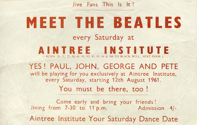 The Beatles: A rare flyer for the Aintree Institute