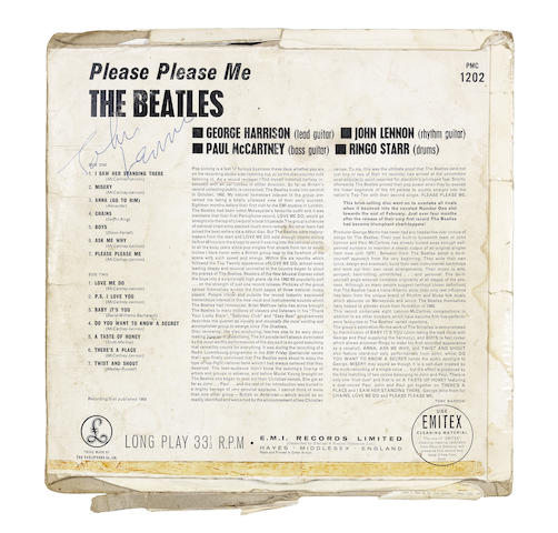 The Beatles: A black and gold label pressing of the album 'Please Please Me' autographed by John Lennon