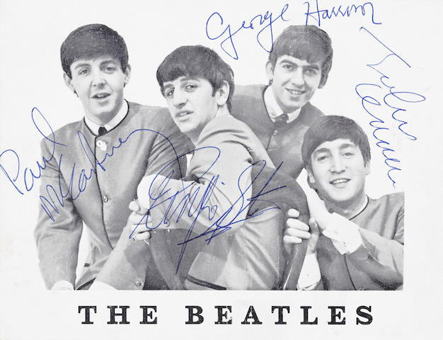 The Beatles: a fully signed Beatles publicity card