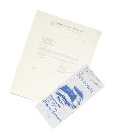 The Beatles: Documents concerning the Beatles' charter of a yacht during their visit to Florida, August 1964